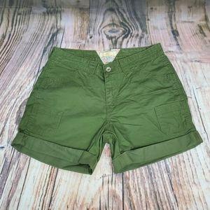 Levi's Cargo Army Green Rolled Hem Shorts